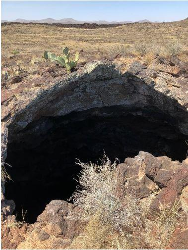 The Potrillo Lava Fields in New Mexico contain features that are thought to be analogous to the lava flows Moon and Mars, including skylights that could offer access to subsurface lava tubes.