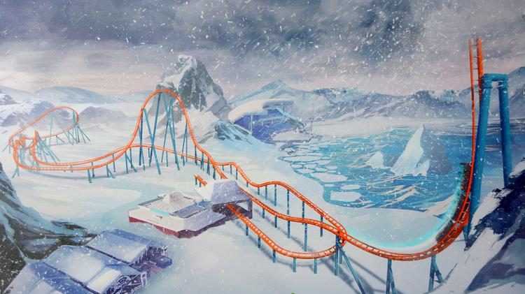 An artist rendering, revealed during a Sept. 12 media event, shows SeaWorld Orlando's Ice Breaker coaster track.
