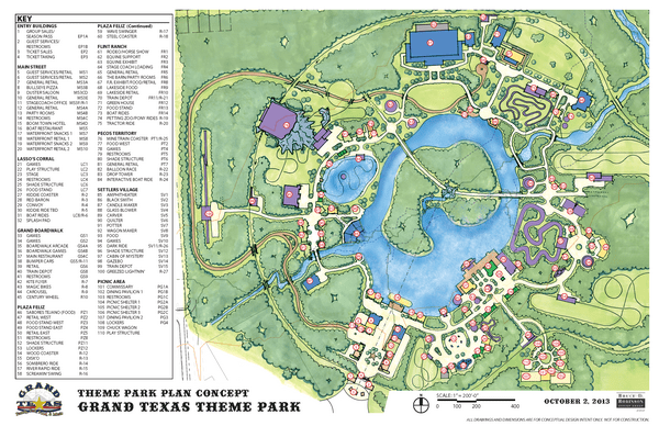 An aerial rendering of the Grand Texas theme park that includes all the parts that make up the entire concept.