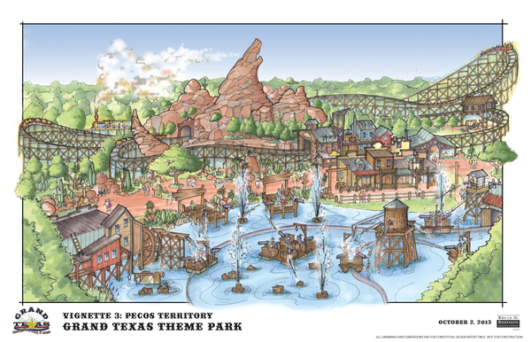 The Grand Texas theme park is designed with the early days of Texas in mind. It will include equestrian trails, a full-sized steam train and a stage coach line.