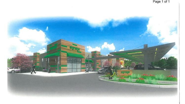 No tenant name is disclosed in planning documents and renderings submitted to the city of Sunnyvale for the new drive-up grocery store project, but industry sources said the likely tenant is Amazon, which has been working on the concept for some time.