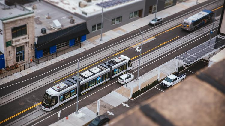 Kansas City's 2.2-mile streetcar line will run down Main Street from the River Market to Union Station.
