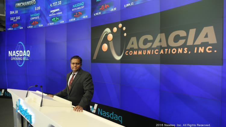 Acacia Communications CEO Raj Shanmugaraj at Nasdaq in New York City.