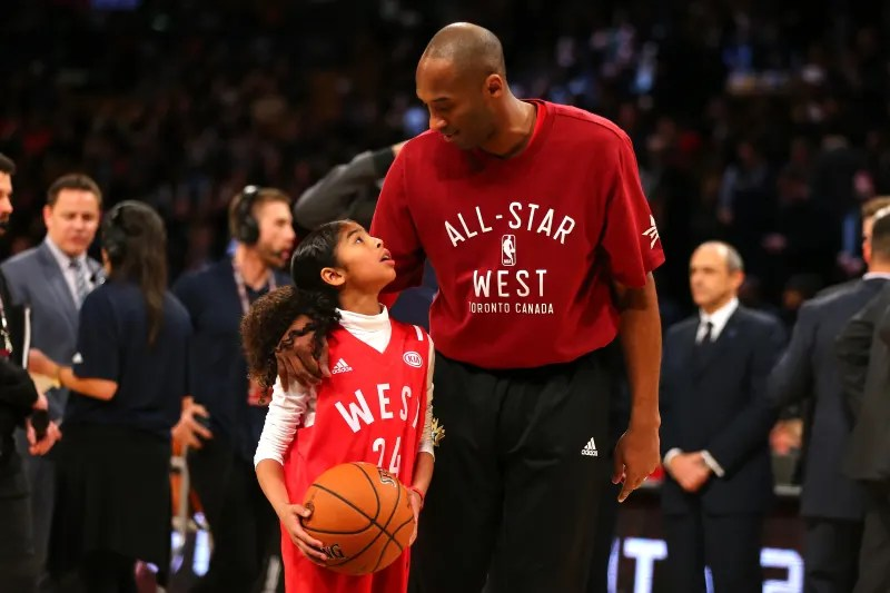TORONTO, ON - FEBRUARY 14:  Kobe Bryant #24 of the Los Angeles Lakers and the Western Conference warms up with daughter Gianna Bryant during the NBA All-Star Game 2016 at the Air Canada Centre on February 14, 2016 in Toronto, Ontario. NOTE TO USER: User e