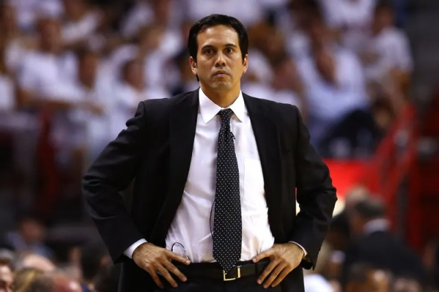 MIAMI, FL - MAY 30: Head coach Erik Spoelstra of the Miami Heat looks on from the bench in the first half against the Indiana Pacers during Game Five of the Eastern Conference Finals at AmericanAirlines Arena on May 30, 2013 in Miami, Florida. NOTE TO USER: User expressly acknowledges and agrees that, by downloading and or using this photograph, user is consenting to the terms and conditions of the Getty Images License Agreement.  (Photo by Streeter Lecka/Getty Images)