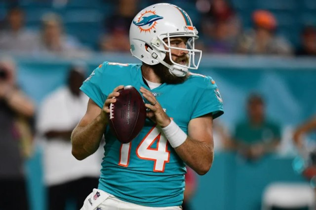 MIAMI, FL - AUGUST 22: Ryan Fitzpatrick #14 of the Miami Dolphins in action during the preseason game against the Jacksonville Jaguars at Hard Rock Stadium on August 22, 2019 in Miami, Florida. (Photo by Mark Brown/Getty Images)