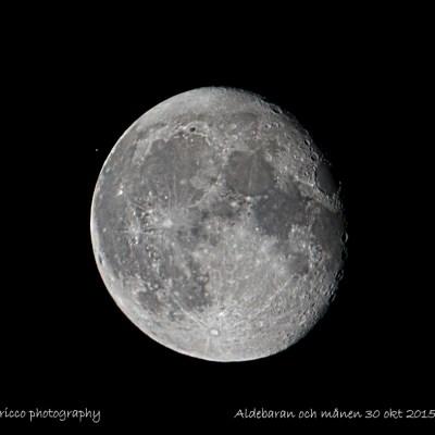 Aldebaran i konjunktion med månen 30 okt 2015