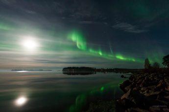 Norrsken i söder och samtidigt med månsken - spektakulärt