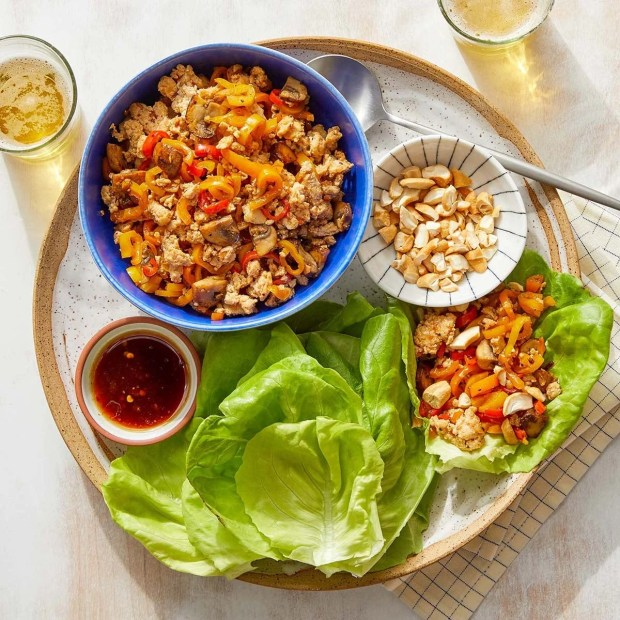 Sesame-Sambal Turkey Lettuce Cups with Mushrooms, Sweet Peppers & Cashews
