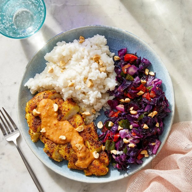Mango Peanut Chicken with Roasted Vegetables & Coconut Rice