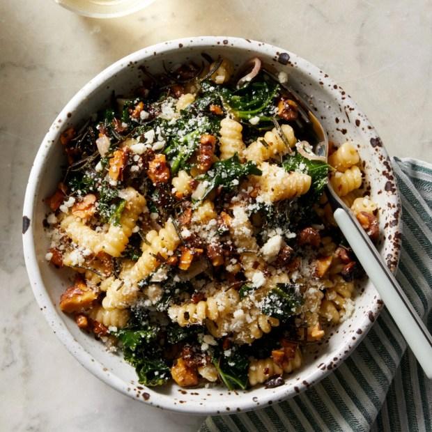Creamy Pasta & Kale with Fried Rosemary & Walnuts