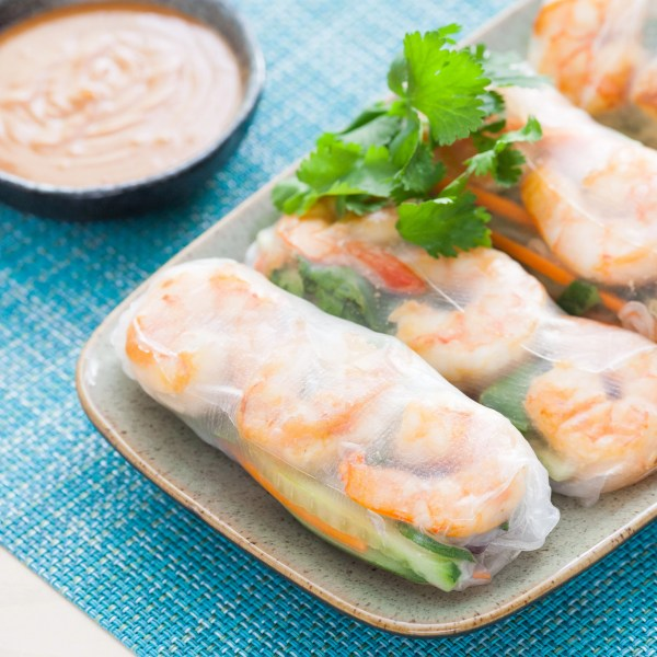 Shrimp Summer Rolls  with Spicy Peanut Dipping Sauce