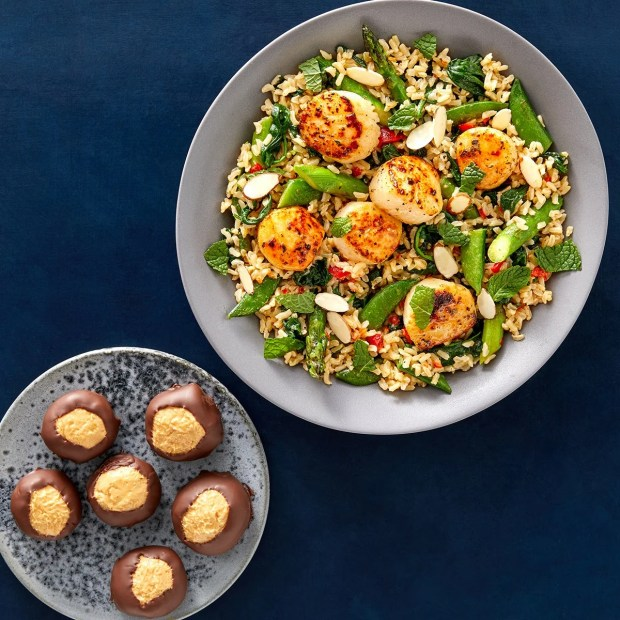 blue apron premium Mother's Day Lime Butter Scallops with Spring Vegetable Rice & Peanut Butter Buckeyes
