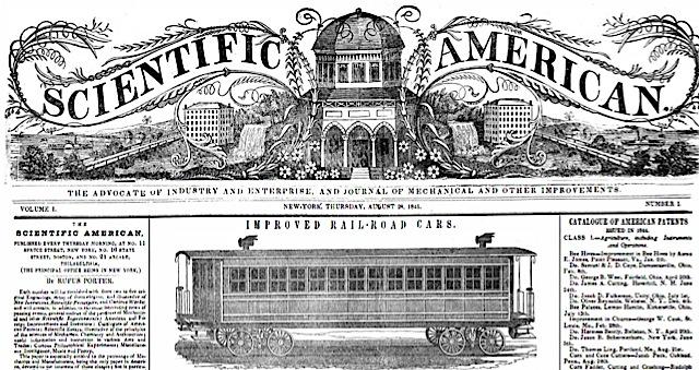 Primer número del Scientific American, agosto de 1845