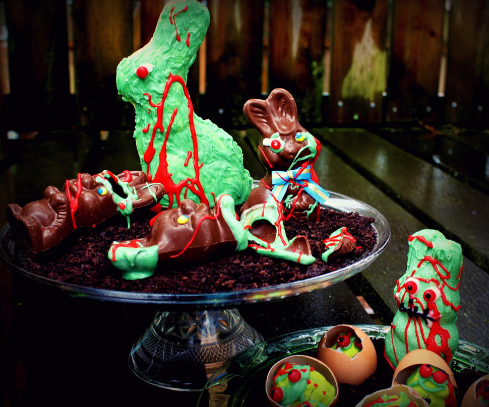 howto make zombie chocolate bunnies and undead eggs for