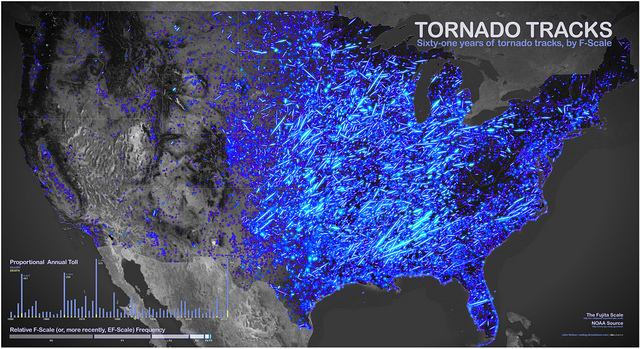Sixtyone Years Of Tornadoes In One Map Boing Boing - Us tornado map