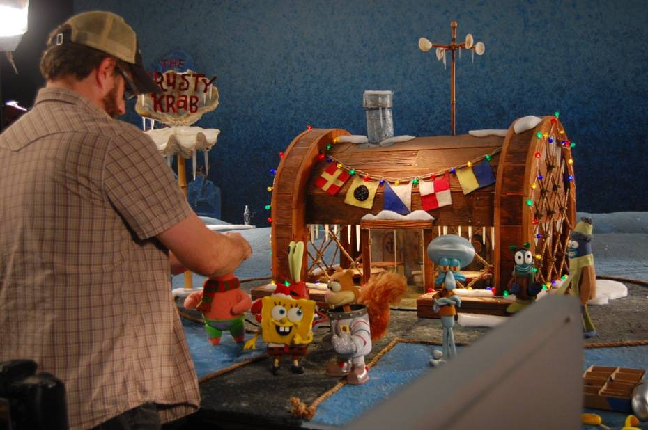 the making of its a spongebob christmas stop motion episode boing boing