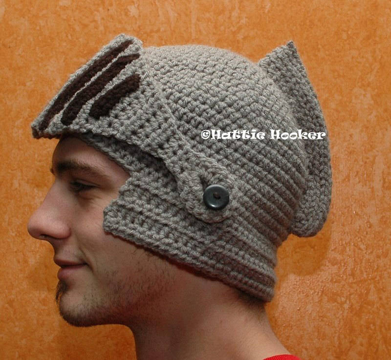 Crocheted Knights Helmet With Movable Mouthguardvisor Boing Boing