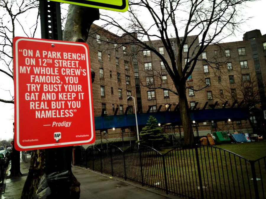 Rap Quotes: site-specific street art with official-looking signs