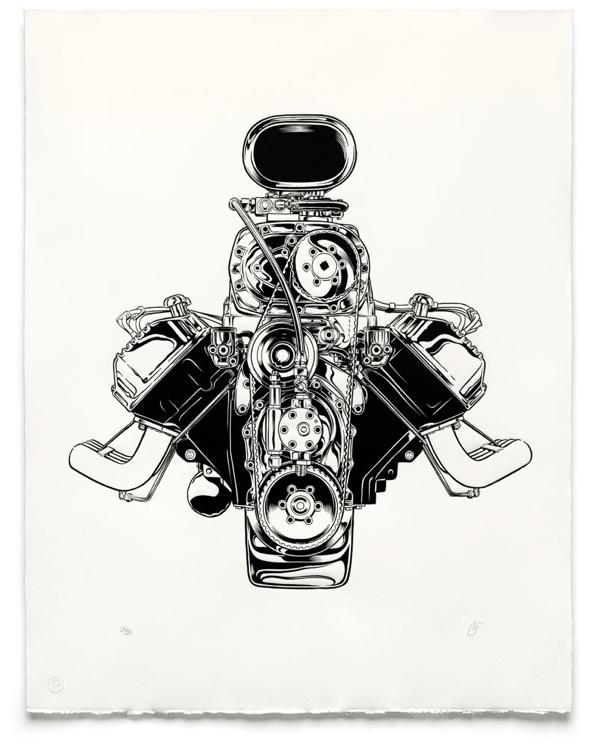 COOP/Pressure Printing car engine fine art print / Boing Boing