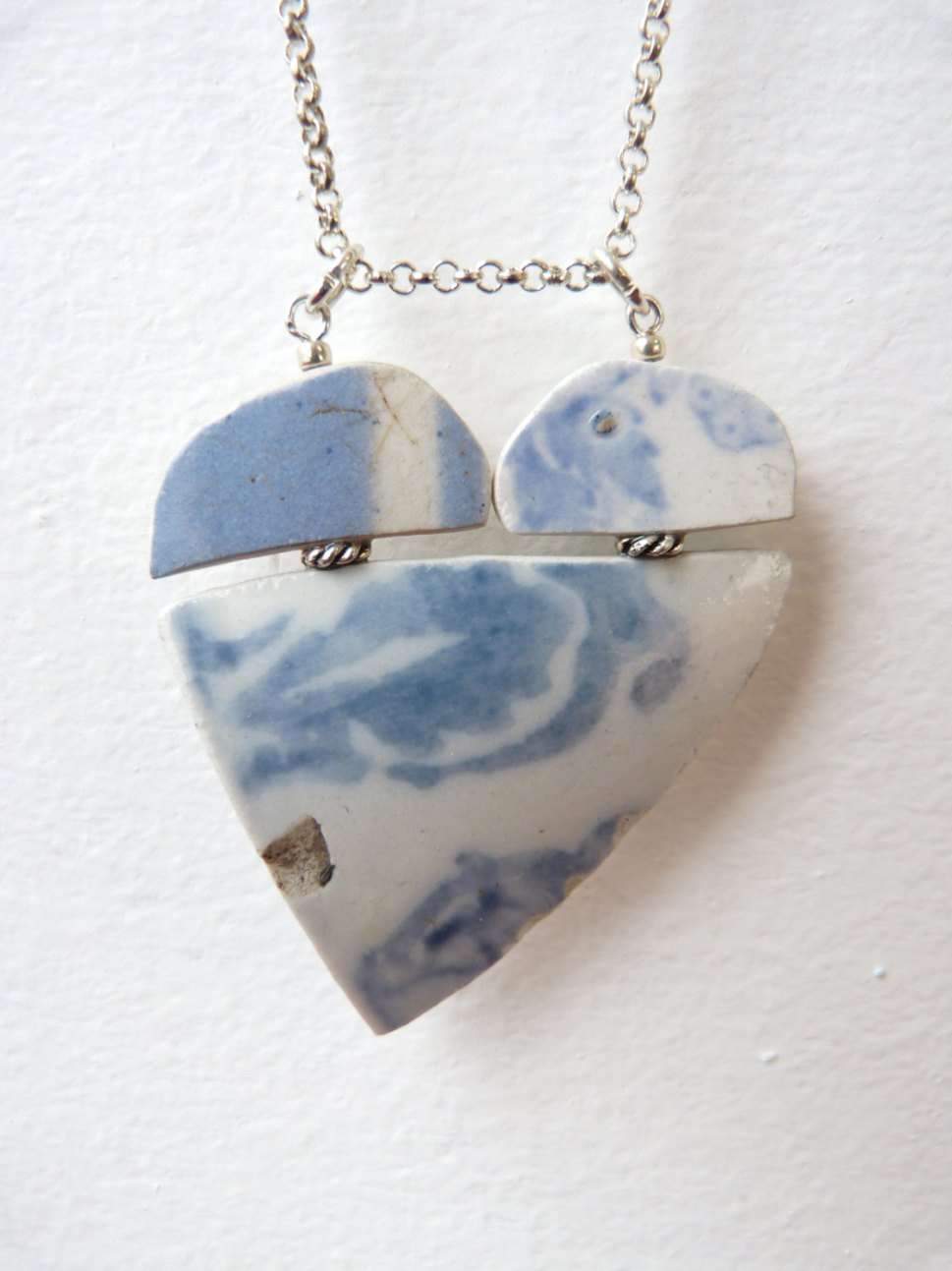 jewelry made from fragments of broken vintage china