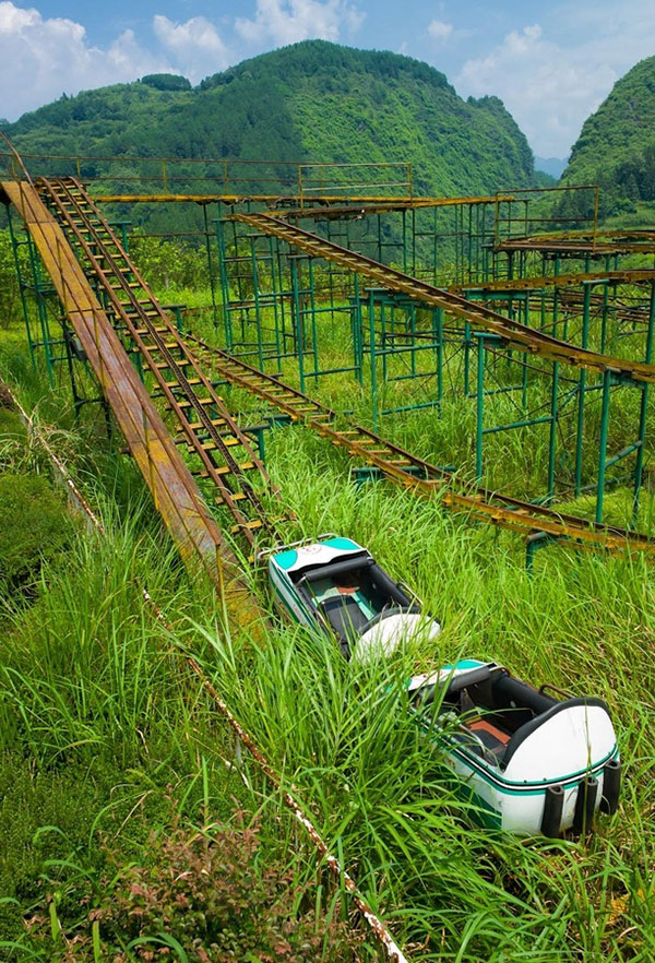 Overgrown, abandoned rollercoaster