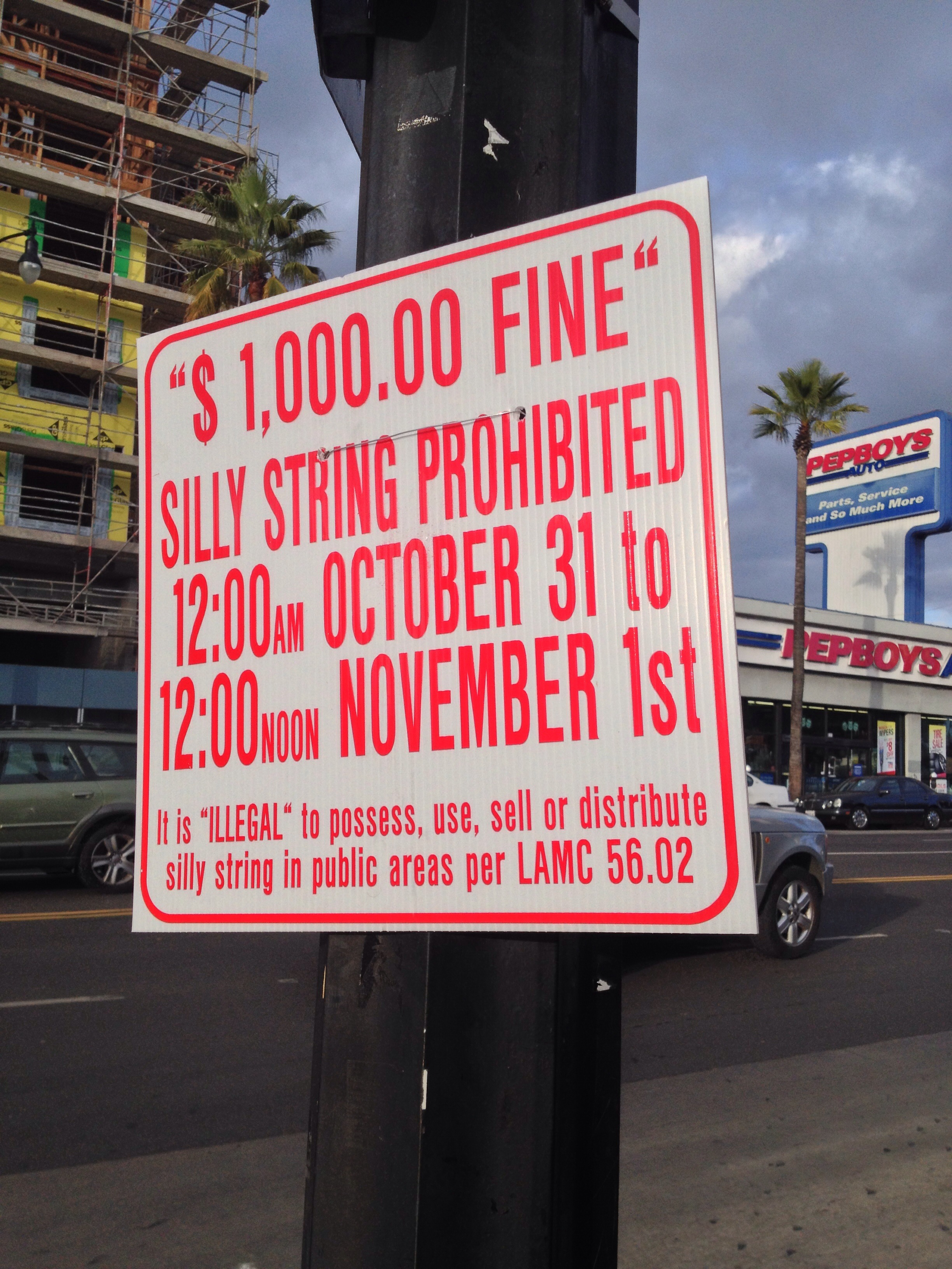 Silly String ban in Los Angeles