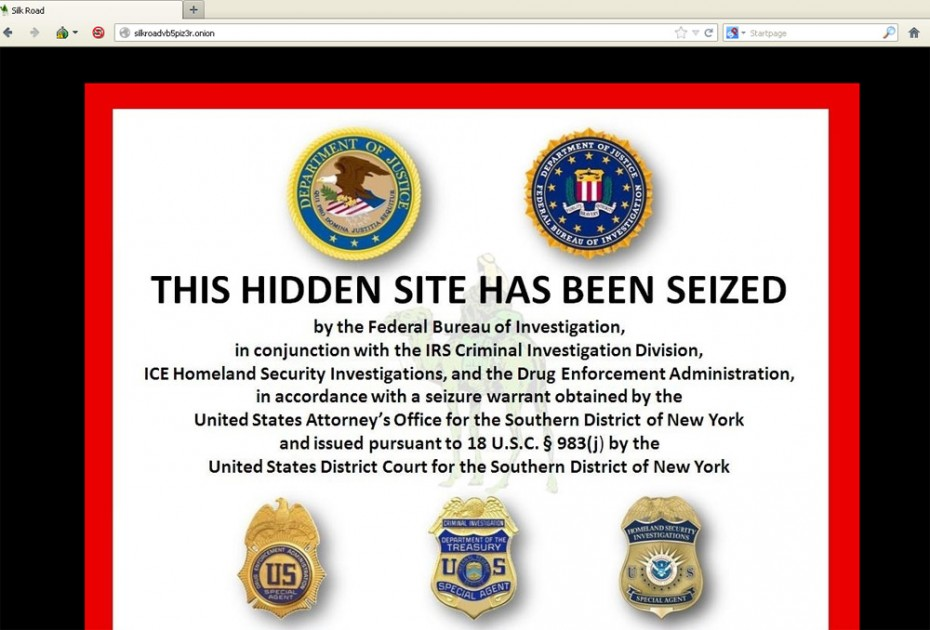 What users who attempt to connect to the Silk Road marketplace see now.