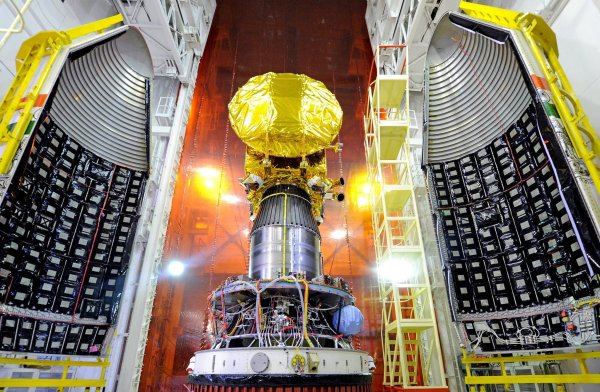 The Mangalyaan Mars Orbiter Spacecraft mounted in a rocket at the Satish Dhawan Space Center in India. Photo: Indian Space Research Organization, via NYT.