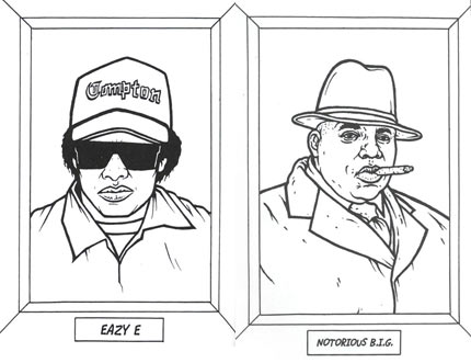 feel free to interpret your favorite rapper in whatever color - Rap Coloring Book