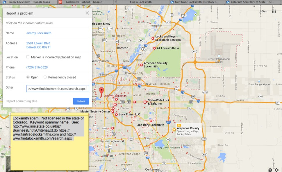 Google Maps' spam problem presents genuine security issues ... on google movie actors, google building, google data request, google design tools, google dreamweaver, google encyclopedia, google workbook, google loon, google search user, google server, google pagination, google cloud sql, google operating software, google web services, google integration, google xss, google computer vision, google add in, google slides, google computer storage,