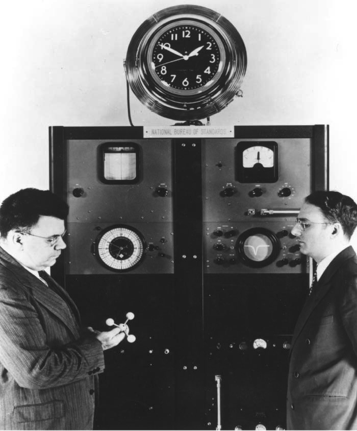 The first atomic clock, at NIST. [Wikipedia]