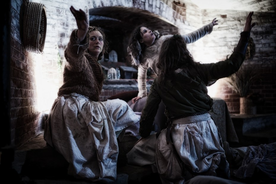 The three witches, We Players' Macbeth at Fort Point