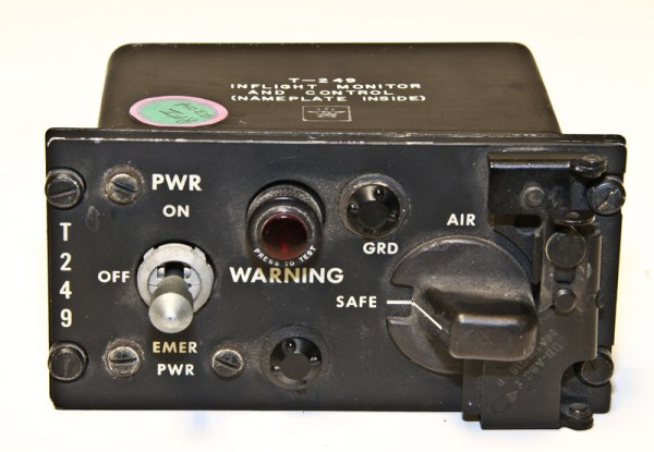 The T-249 switch used to arm nuclear bombs on Strategic Air Command bomber aircraft. Photo courtesy of Glenn's Computer Museum.