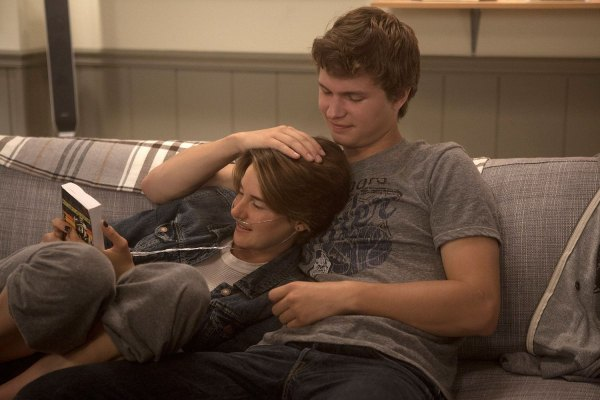 """From """"The Fault in our Stars."""" Hazel (Shailene Woodley) and Gus (Ansel Elgort) are two extraordinary teenagers who share an acerbic wit, a disdain for the conventional, and love."""