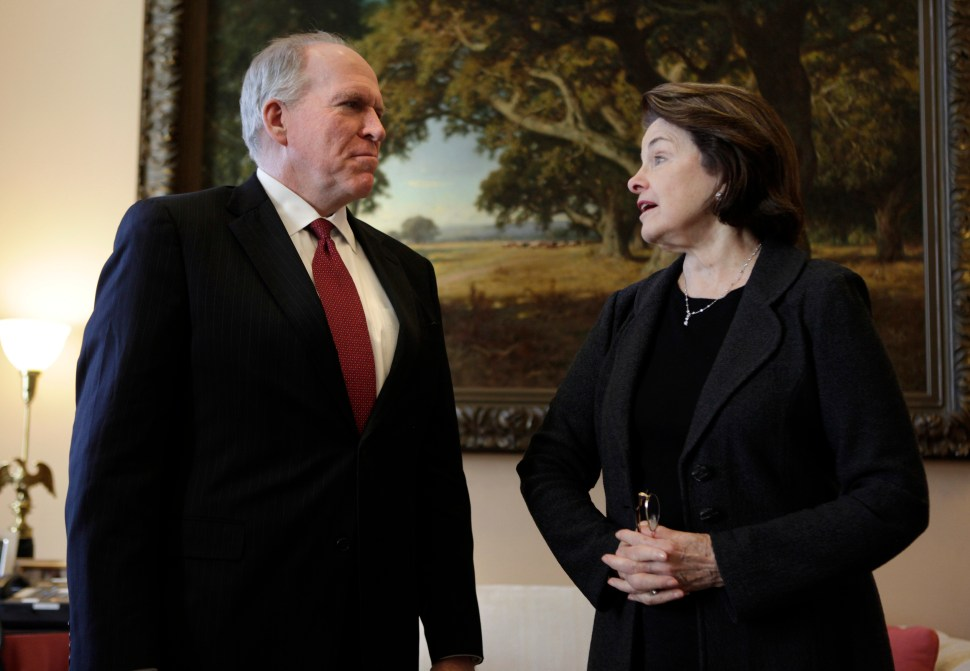 Happier days: Senate Intelligence Committee Chairman Dianne Feinstein (D-CA)  with John Brennan, CIA Director, on Capitol Hill in Washington January 31, 2013. [REUTERS/Yuri Gripas]