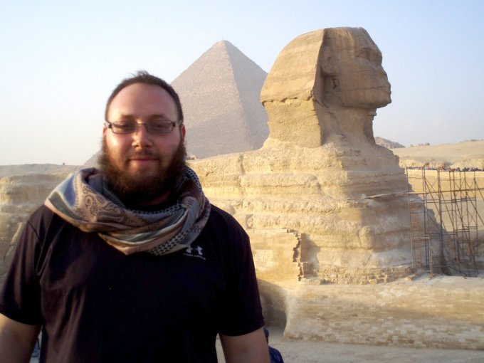 Undated photo shows journalist Steven Sotloff at the Great Sphinx, in Egypt. From Facebook.