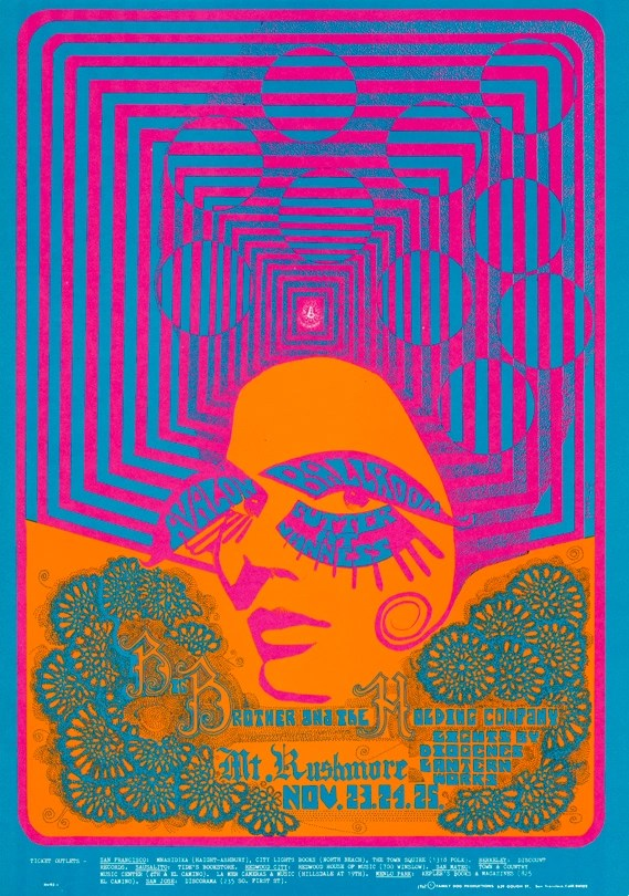 Big Brother and the Holding Company, November 23-25, 1967, Avalon Ballroom, San Francisco. Artist: Joe Gomez.