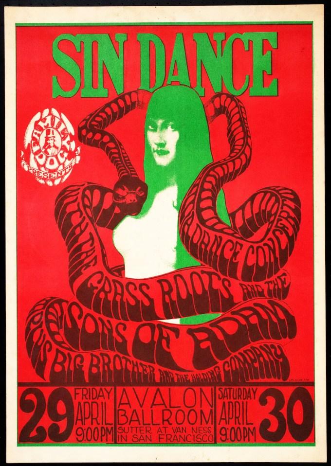 Sin Dance, April 29-30, 1966, Avalon Ballroom, San Francisco. Artist: Wes Wilson.