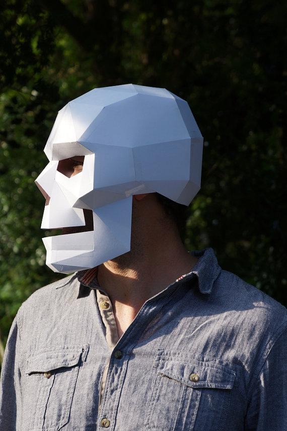 Very Polygon paper skull mask / Boing Boing HN56