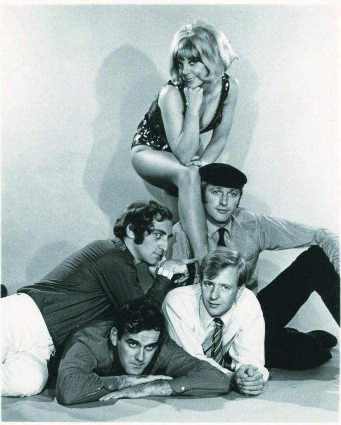 'The cast of At Last the 1948 Show:Tim Brooke-Taylor, Graham Chapman, John Cleese, Marty Feldman and Aimi MacDonald.'