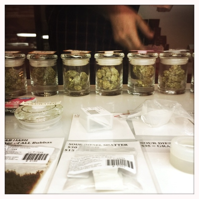 Various strains of medical marijuana on display at the Los Angeles Patients and Caregivers Group, the dispensary where I obtained medical marijuana during my treatment for breast cancer.