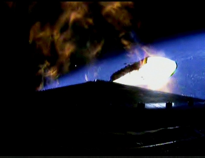 An onboard camera records the separation of one of the Delta IV Heavy rocket boosters as it separates following lift off from Space Launch Complex 37 at Cape Canaveral Air Force Station in Florida carrying NASA's Orion spacecraft on an unpiloted flight test to Earth orbit. Liftoff was at 7:05 a.m. EST. During the two-orbit, four-and-a-half hour mission, engineers will evaluate the systems critical to crew safety, the launch abort system, the heat shield and the parachute system. Photo: NASA