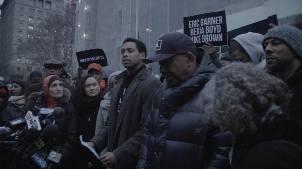 December 10, 2014: Russell Simmons and Common support young leadership of NY Justice League's issue of demands on the steps of New York City Hall. Photo: Aaron-Stewart Ahn.