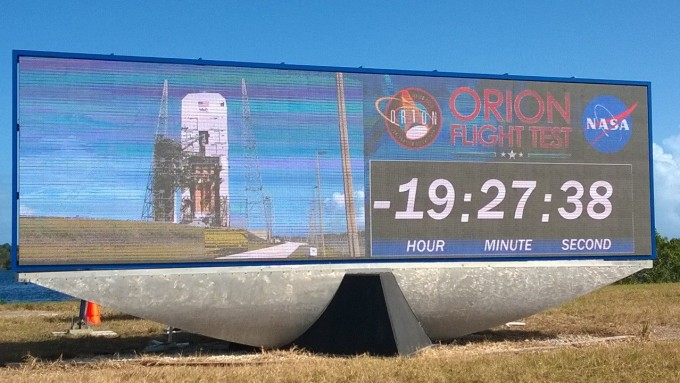 NASA's brand-new countdown clock, which displays live video of the rocket in addition to the countdown. [Photo: Sawyer Rosenstein]
