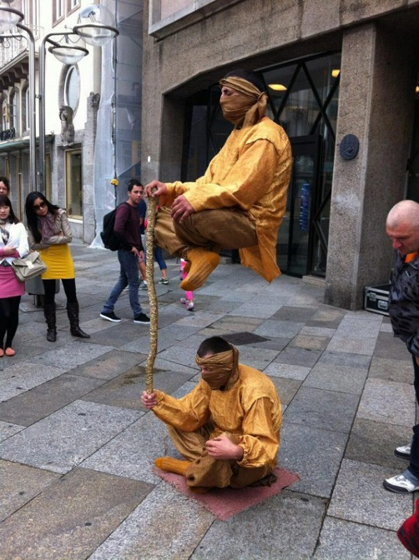 The physics of levitating street performers