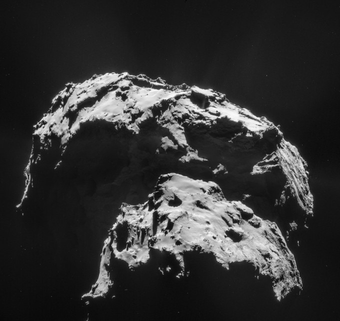 Comet 67P/Churyumov-Gerasimenko is seen here in an image captured by the Rosetta spacecraft. The mission's Philae lander hit the surface with a big bounce, demonstrating the comet's surface is hard. Image ESA/Rosetta/NAVCAM