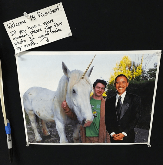 """Backstage at Stanford University. Yes he did sign it."" By Pete Souza via Instagram"