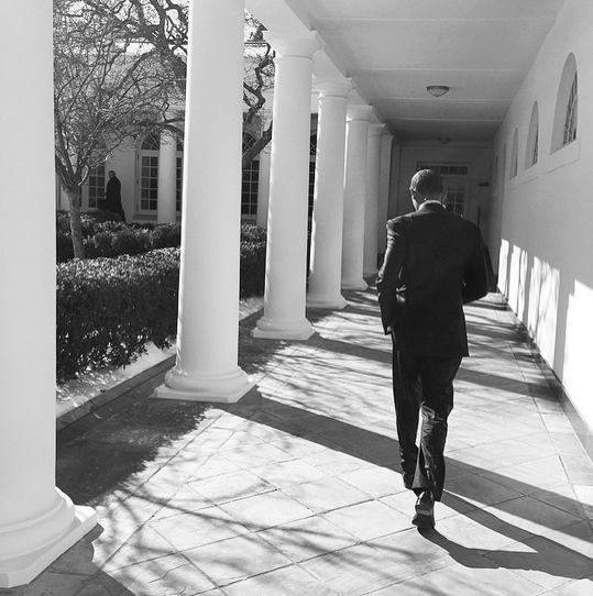 """President Obama on the White House colonnade today."" By Pete Souza via Instagram"