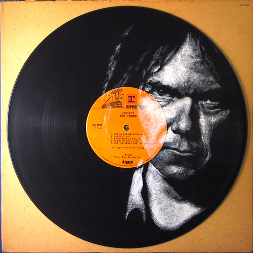 Neil Young. Vinyl Art by Daniel Edlen.